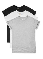 Topman Black White And Grey Muscle Fit Roller T Shirt Multipack