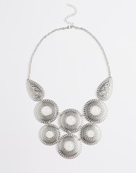 New Look Filigree Disc Bib Necklace Silver