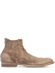 Officine Creative Cropped Washed Suede Boots Beige