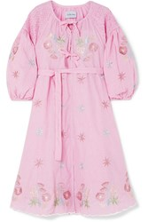 Innika Choo Smocked Embroidered Gingham Cotton Dress Pink