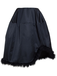 Simone Rocha A Line Satin Skirt With Feather Hem Black