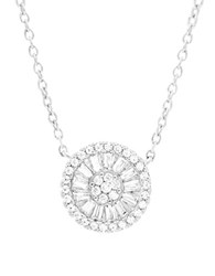 Lord And Taylor Cubic Zirconia Circle Pendant Necklace Silver