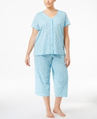 Charter Club Plus Size Loop Trimmed Top And Cropped Pants Pajama Set Only At Macy's Dragonfly Floral