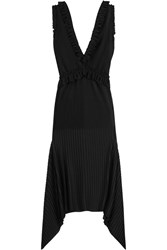 Givenchy Pleated Midi Dress In Black Stretch Satin