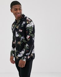 Religion Revere Collar Shirt With Floral Crane Print In Black