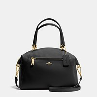 Coach Prairie Satchel In Pebble Leather Light Gold Black