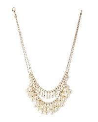 Lydell Nyc Golden Double Strand Pearly Bib Necklace Women's