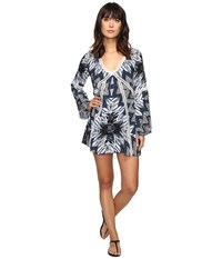 Red Carter Indigo Blues Rayon Tunic Cover Up Indigo Multi Women's Swimwear Purple