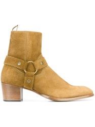 Saint Laurent 'Wyatt' Ankle Boots Nude And Neutrals