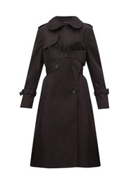 Simone Rocha Ruffle Trimmed Belted Double Breasted Trench Coat Black