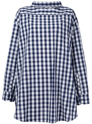 Erika Cavallini Checked Reverse Shirt Women Cotton Linen Flax 42 Blue