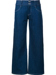 Sandy Liang Wide Leg Cropped Jeans Blue