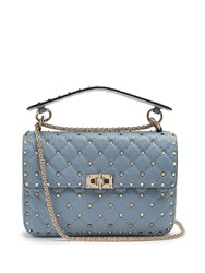 Valentino Rockstud Spike Quilted Leather Cross Body Bag Light Blue