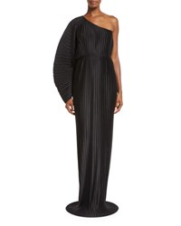 Solace London Torrance One Shoulder Pleated Chiffon Maxi Dress Black