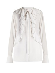 Givenchy Faux Pearl Embellished Ruffled Blouse White