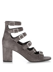 Saint Laurent Babies Buckle Strap Brushed Suede Sandals Dark Grey