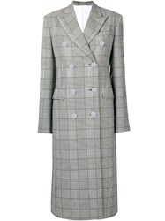 Calvin Klein 205W39nyc Checked Double Breasted Coat Grey