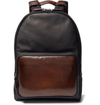 Berluti Time Off Suede Trimmed Polished Leather Backpack Black