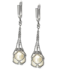 Effy Collection Pearl Lace By Effy Cultured Freshwater Pearl Cage Drop Earrings In Sterling Silver 10Mm
