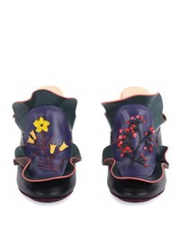Fendi Floral Ruffled Leather Mule Multi Purple