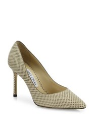 Jimmy Choo Romy Snakeskin Print Leather Point Toe Pumps Light Mocha