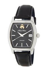 Brooks Brothers Men's Premium Collection Rectangular Leather Strap Watch Black