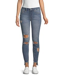 Kenneth Cole Mid Rise Distressed Skinny Jeans Pacific Wash