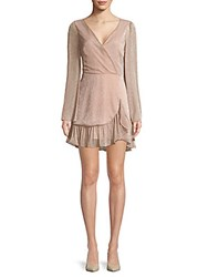 Saks Fifth Avenue Red Ruffle Wrap Front Mini Dress Blush Multi