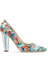 Moschino Glossed Printed Leather Pumps Multi