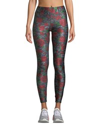 Terez Heathered Rose Print Tall Band Leggings Red Pattern