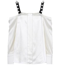3.1 Phillip Lim Off The Shoulder Silk Satin Blouse White