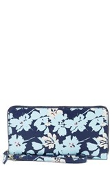 Halogenr Women's Halogen Leather Zip Around Wallet Blue Navy Patriot Silhouette Floral