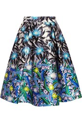 Peter Pilotto Printed Silk Twill Skirt Bright Blue