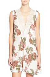 Women's Free People 'So You Say' Lace Trim Floral Chemise Tea Combo