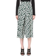 Whistles Thelma Daisy Silk Cropped Trousers Multi Coloured
