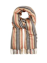 Burberry Vintage Check Cashmere And Silk Satin Scarf Beige