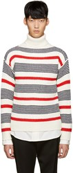 Tomorrowland Tricolor Wool Striped Turtleneck
