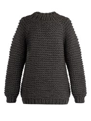 I Love Mr Mittens Wool Boxy Knit Sweater Charcoal