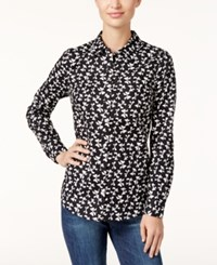 Charter Club Printed Bow Shirt Only At Macy's Deep Black Combo