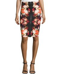 Romeo And Juliet Couture Front Zipper Scuba Skirt Black Red Rust