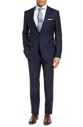 Boss Men's Huge Genius Trim Fit Navy Wool Suit