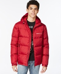 Versace Jeans Hooded Puffer Coat Red