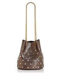 Street Level Embellished Drawstring Bucket Bag Pewter Gold