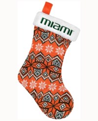 Forever Collectibles Miami Hurricanes Ugly Sweater Knit Team Stocking Orange