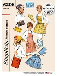 Simplicity 'S Vintage Apron And Oven Gloves Sewing Pattern 6206