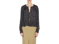 Isabel Marant Women's Thalio Silk Blend Crop Blouse Black