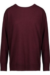 Sandro Anita Wrap Effect Wool And Cashmere Blend Sweater Burgundy