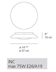 Artemide Lunex 15 17 Wall Ceiling Lamp Rd502100 15 Incandescent White