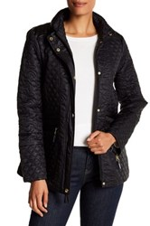 Via Spiga Faux Leather Trimmed Quilted Jacket Black