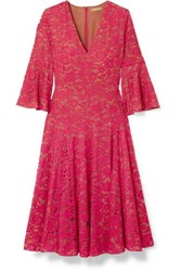 Michael Kors Collection Corded Lace Midi Dress Red